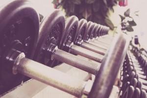 dumbells line gym