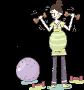 dibujo mujer embarazada con pesas